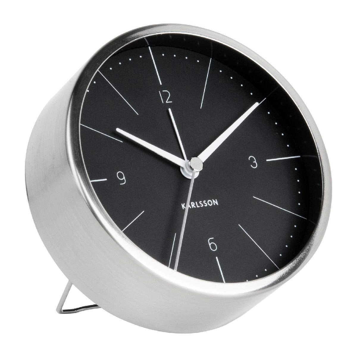 KARLSSON Normann alarm clock steel case black dial | The Design Gift Shop