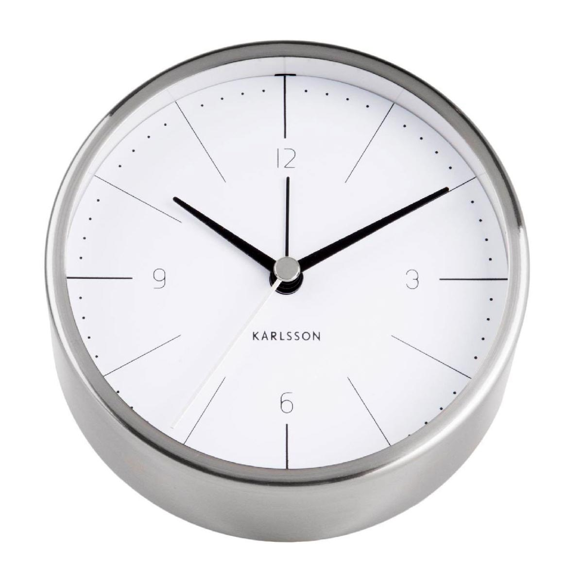 KARLSSON Normann alarm clock steel case white dial | The Design Gift Shop