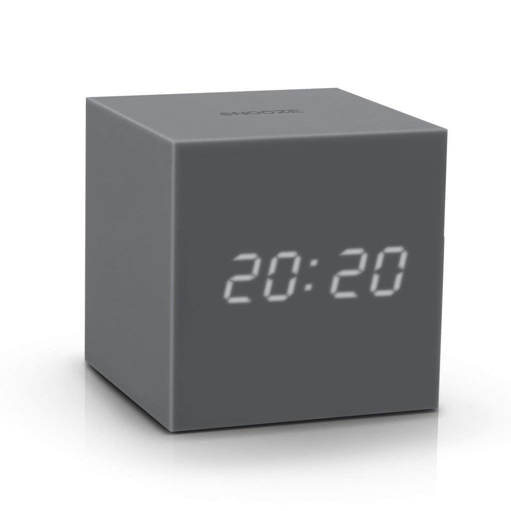 GINKGO gravity cube click clock grey | The Design Gift Shop