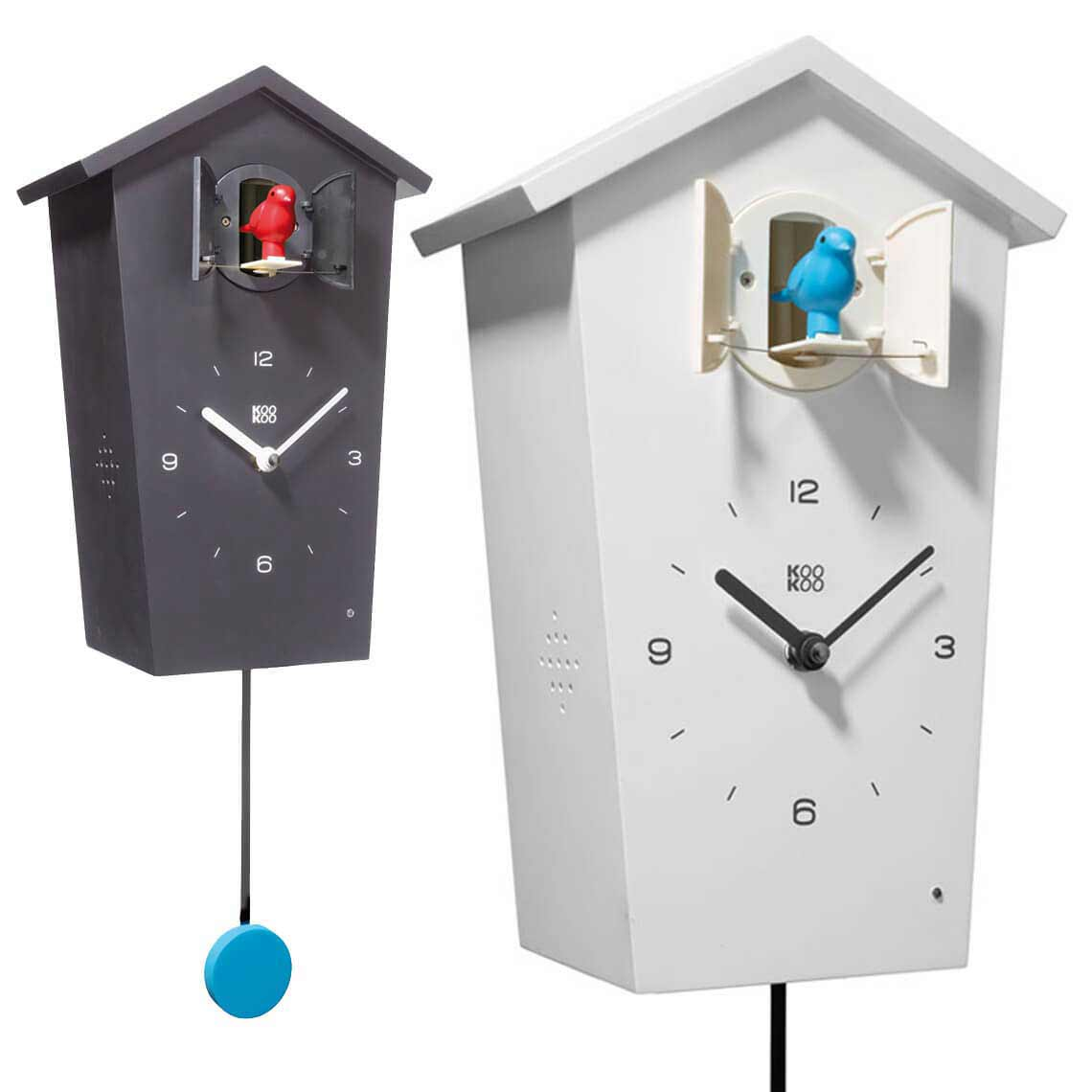 Cuckoo clock BirdHouse in black or white by KooKoo | The Design Gift Shop