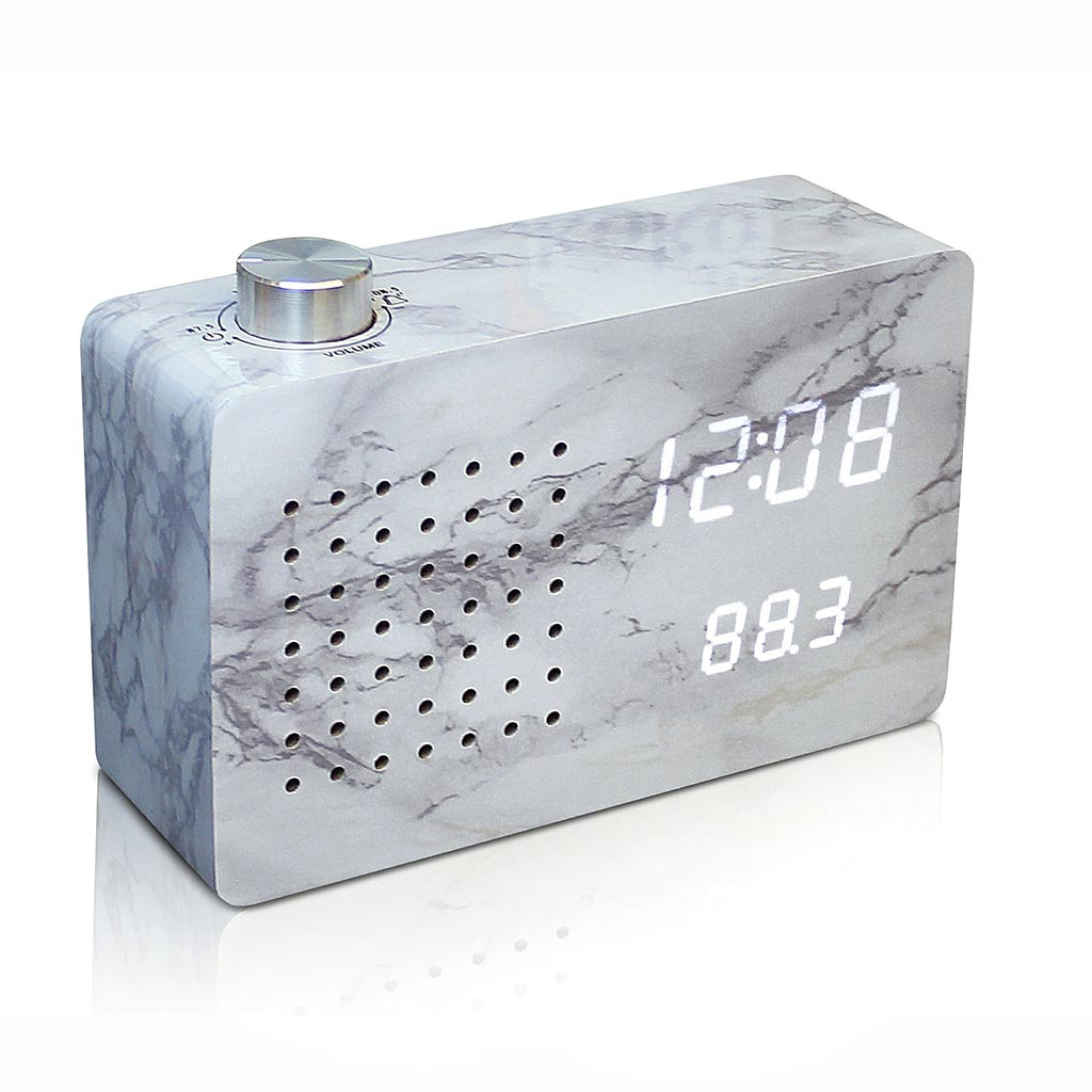 GINKGO click radio LED alarm clock marble | The Design Gift Shop