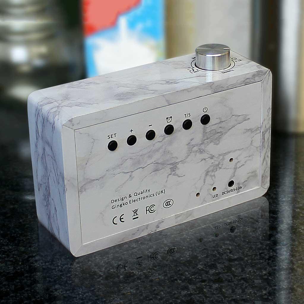 GINKGO click radio LED alarm clock marble   The Design Gift Shop