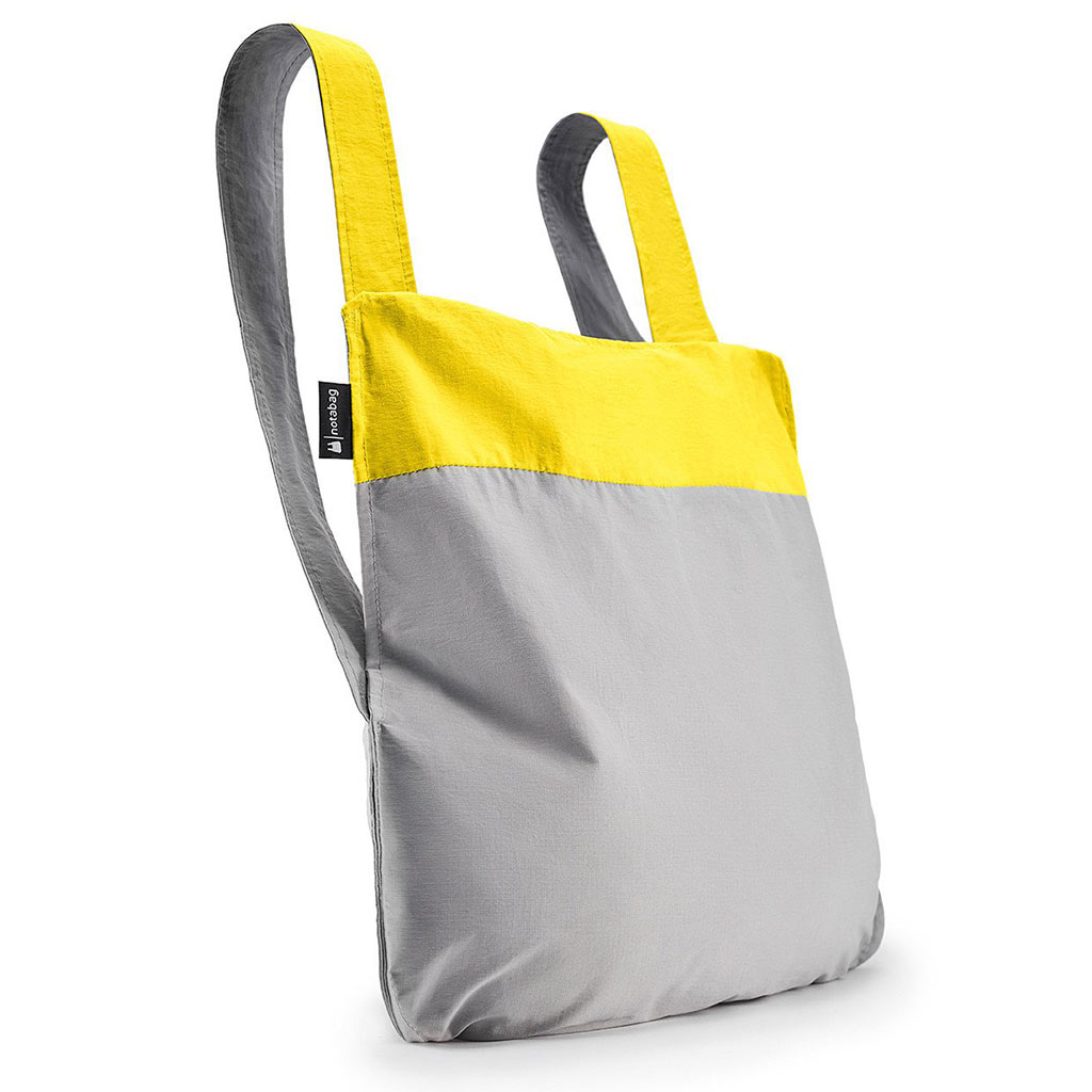 Notabag Shopping Bag & Backpack in Yellow and Grey | The Design Gift Shop