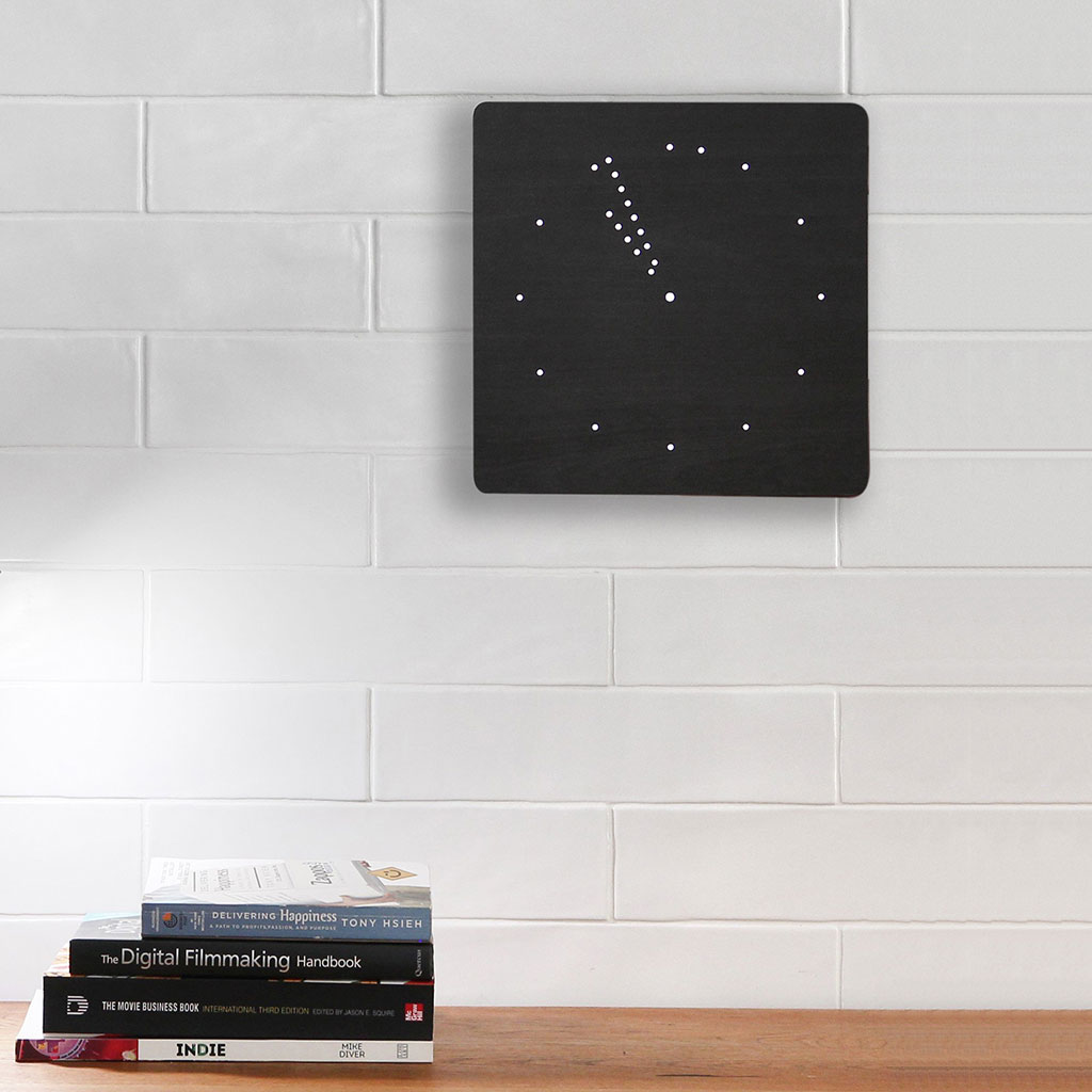 GINKGO black analog click clock with white LED | the design gift shop