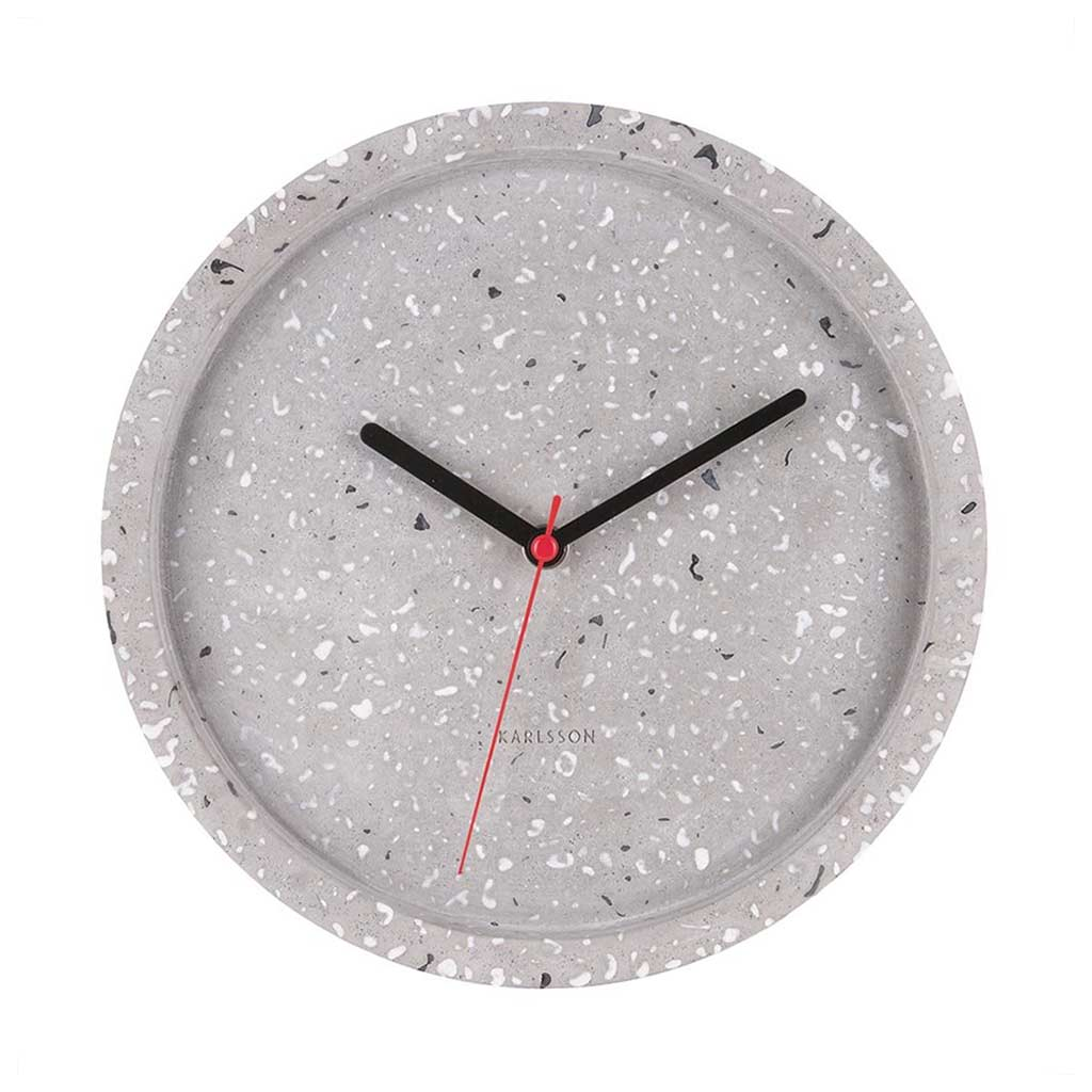 KARLSSON Tom Terrazzo grey concrete wall clock | The Design Gift Shop