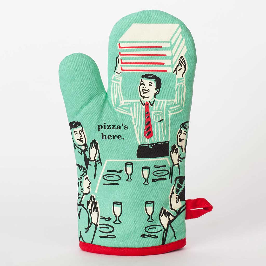 Pizza's Here (Front) - One Oven Mitt by Blue Q | The Design Gift Shop