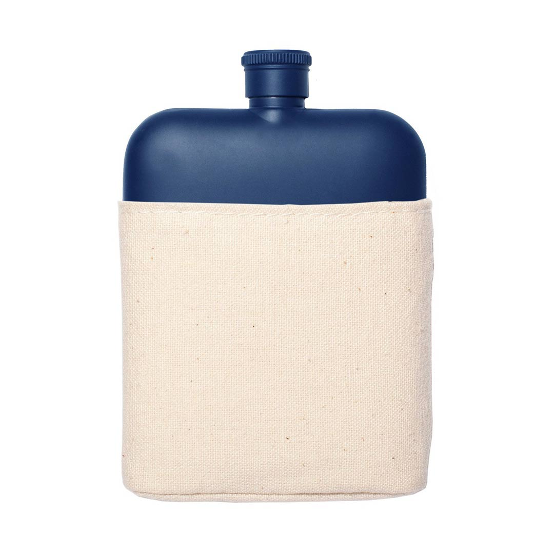 Izola 6oz blue stainless steel flask with canvas sleeve | The Design Gift Shop