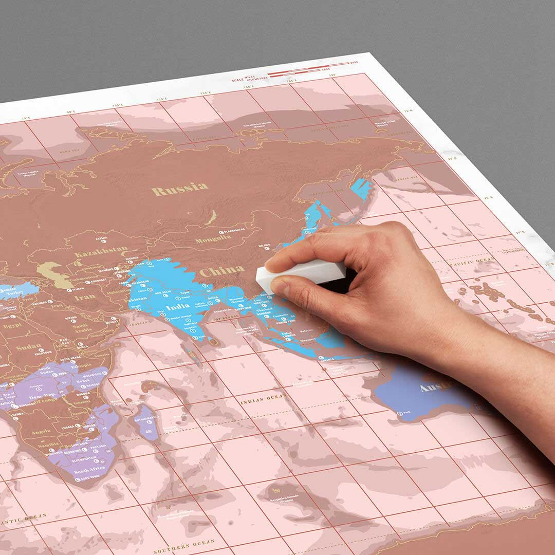 Rose Gold Edition Scratch World Map | The Design Gift Shop