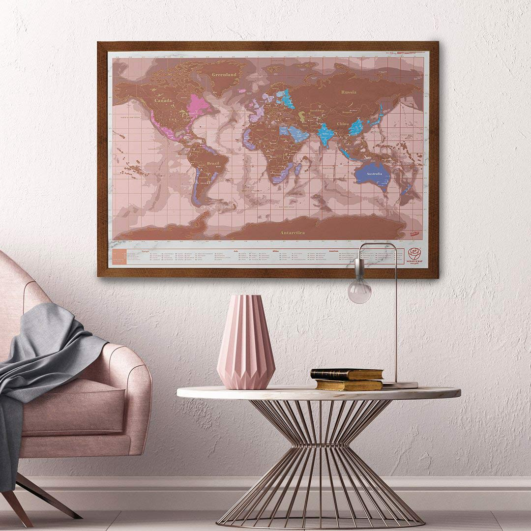 Rose Gold Edition Scratch World Map (frame not included) | The Design Gift Shop