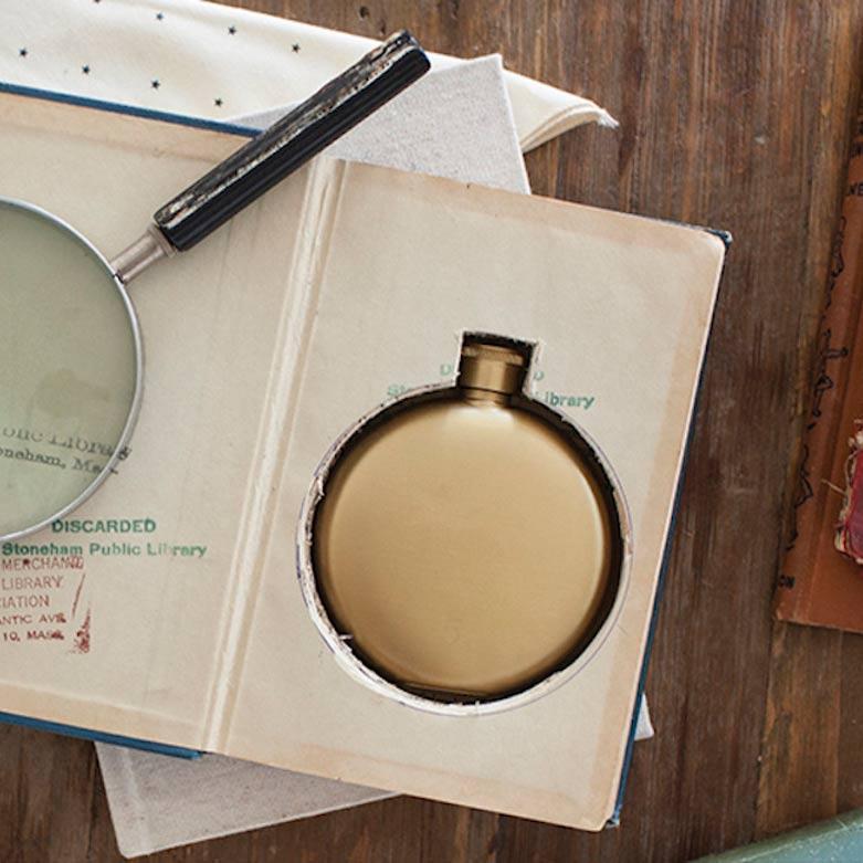 Izola 5oz round stainless steel flask matte gold | The Design Gift Shop