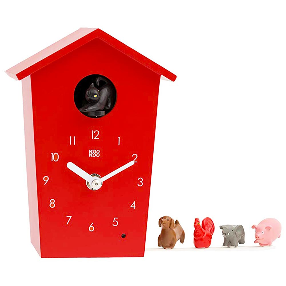 KooKoo AnimalHouse red wall clock and mantel clock | The Design Gift Shop