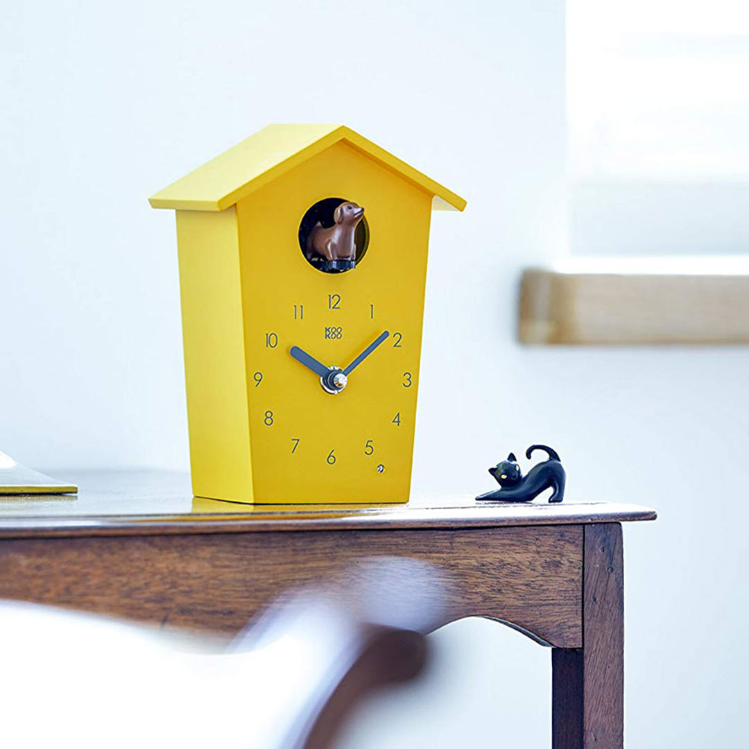 KooKoo AnimalHouse yellow wall clock and mantel clock | The Design Gift Shop