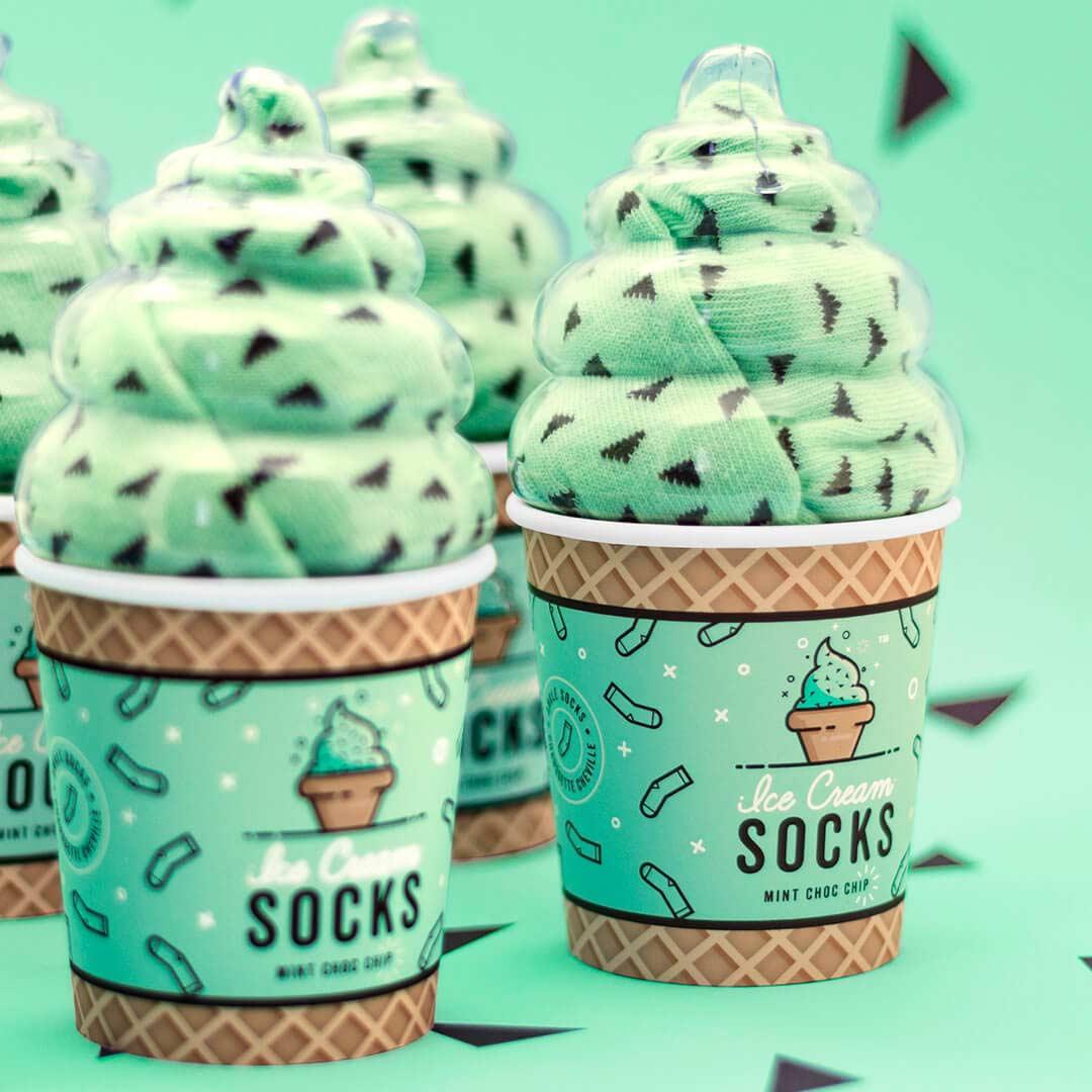 Luckies Women's Ice Cream Socks 'Mint Choc Chip' | The Design Gift Shop