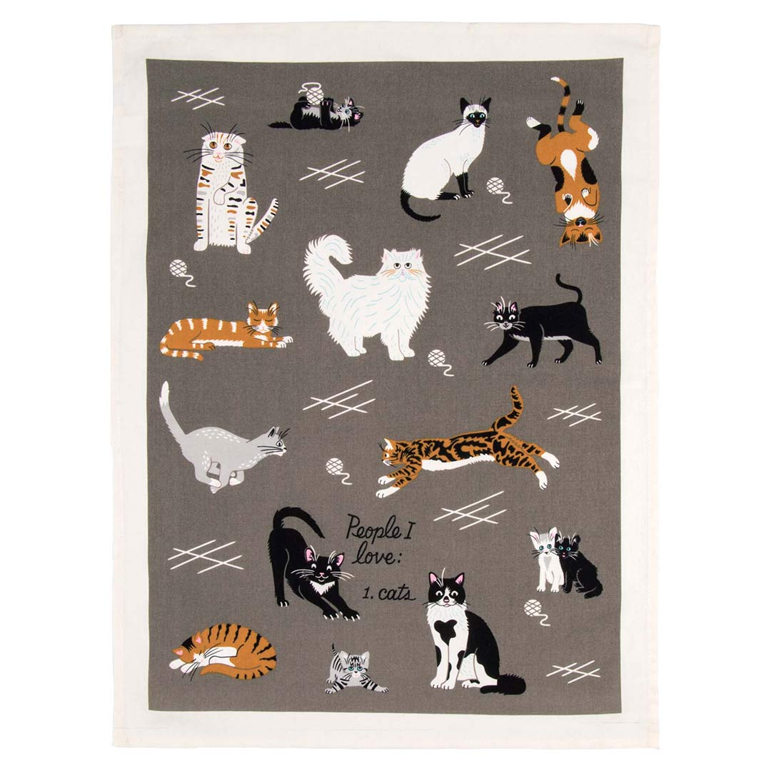 'People I Love: Cats' Dish Towel by Blue Q  | The Design Gift Shop