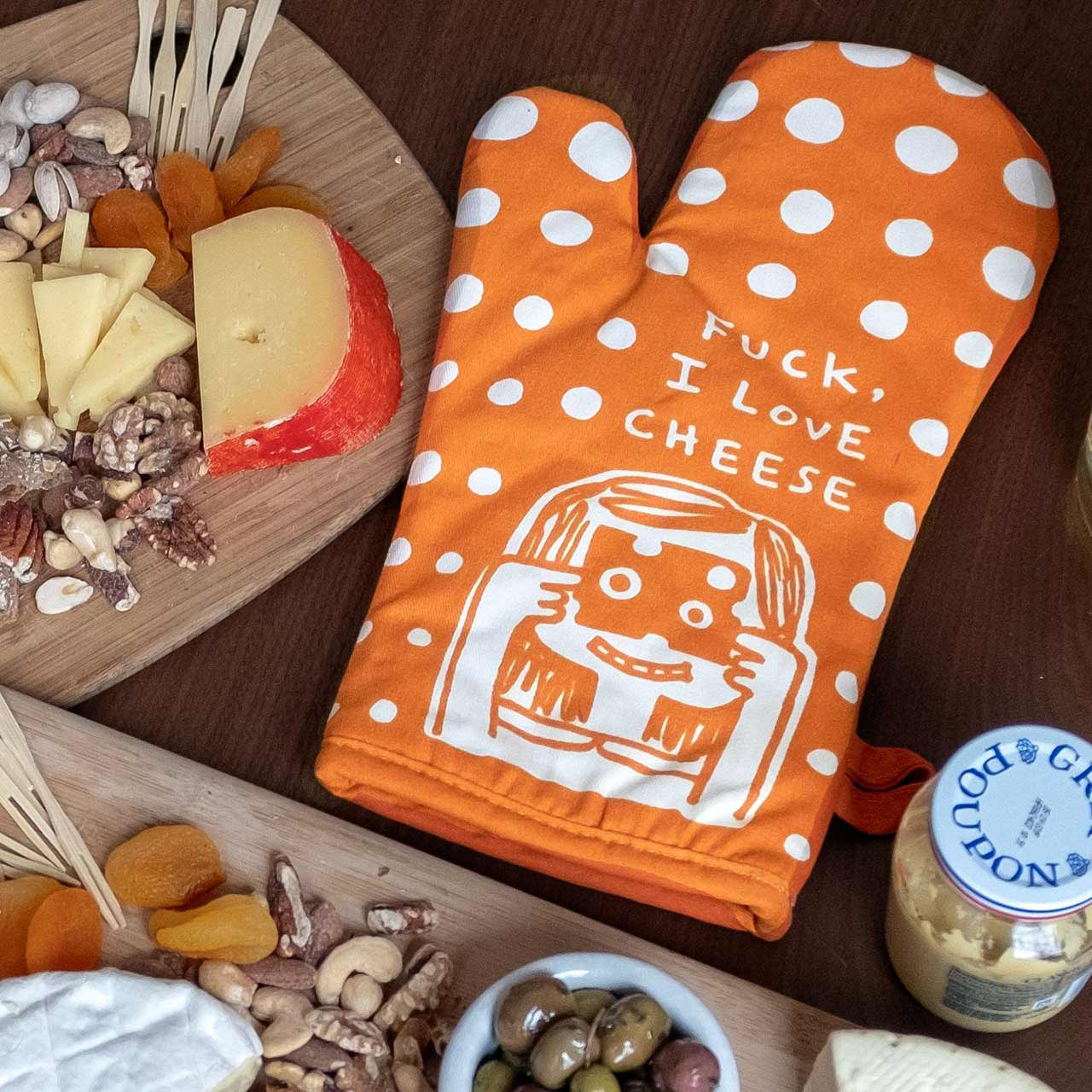 F*ck, I Love Cheese (Front) - One Oven Mitt by Blue Q | the design gift shop