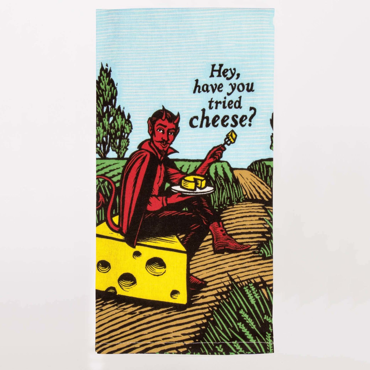 'Hey, Have You Tried Cheese?' Dish Towel by Blue Q  | The Design Gift Shop