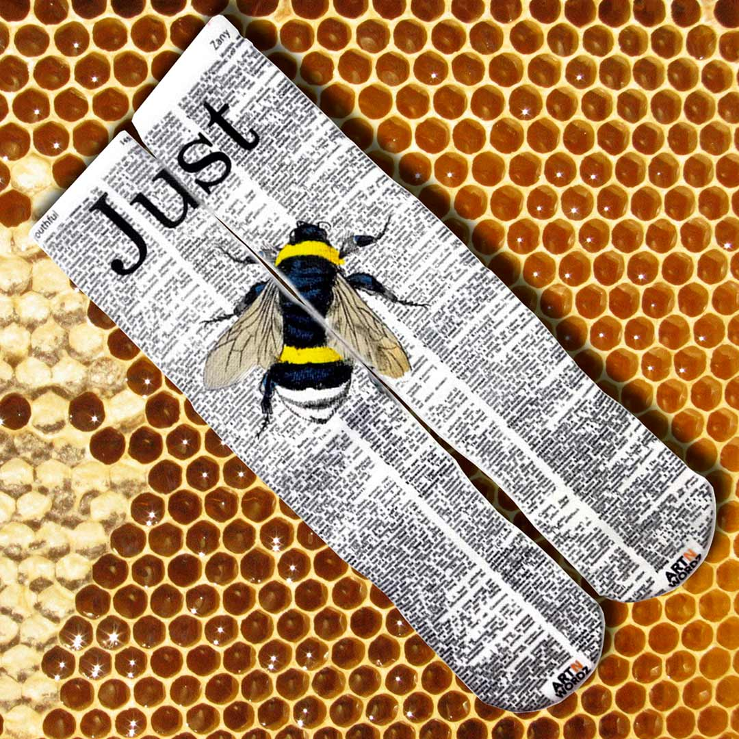 JUST BEE socks by Art N Wordz  (Front) | the design gift shop