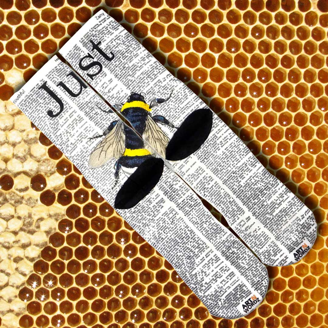 JUST BEE socks by Art N Wordz (Back) | The Design Gift Shop