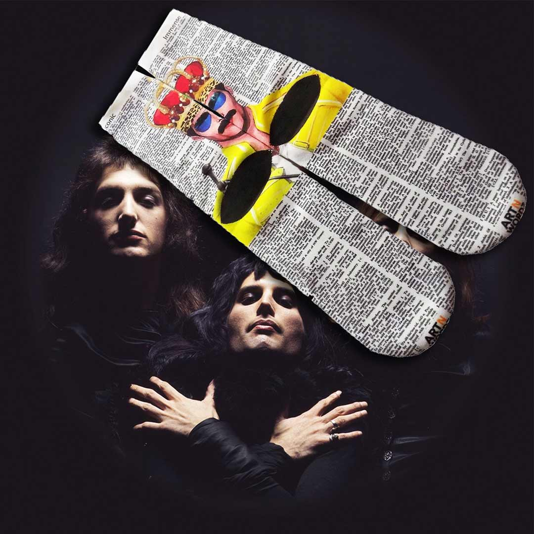 FREDDIE MERCURY CROWN QUEEN socks by Art N Wordz  (Back) | The Design Gift Shop