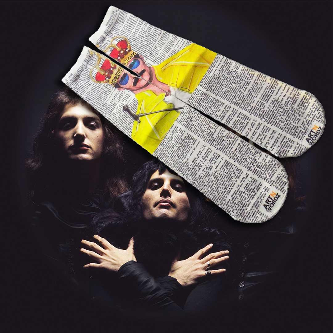 FREDDIE MERCURY CROWN QUEEN socks by Art N Wordz  (Front) | the design gift shop