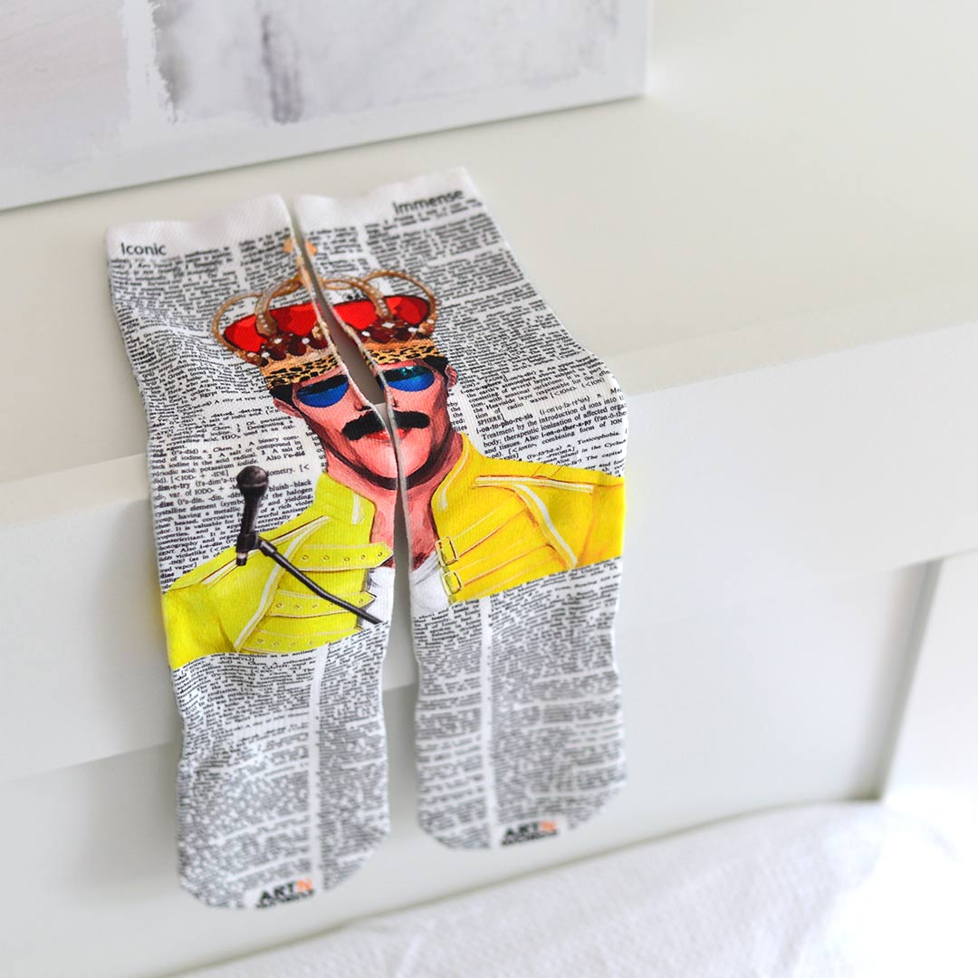 FREDDIE MERCURY CROWN QUEEN socks by Art N Wordz | The Design Gift Shop