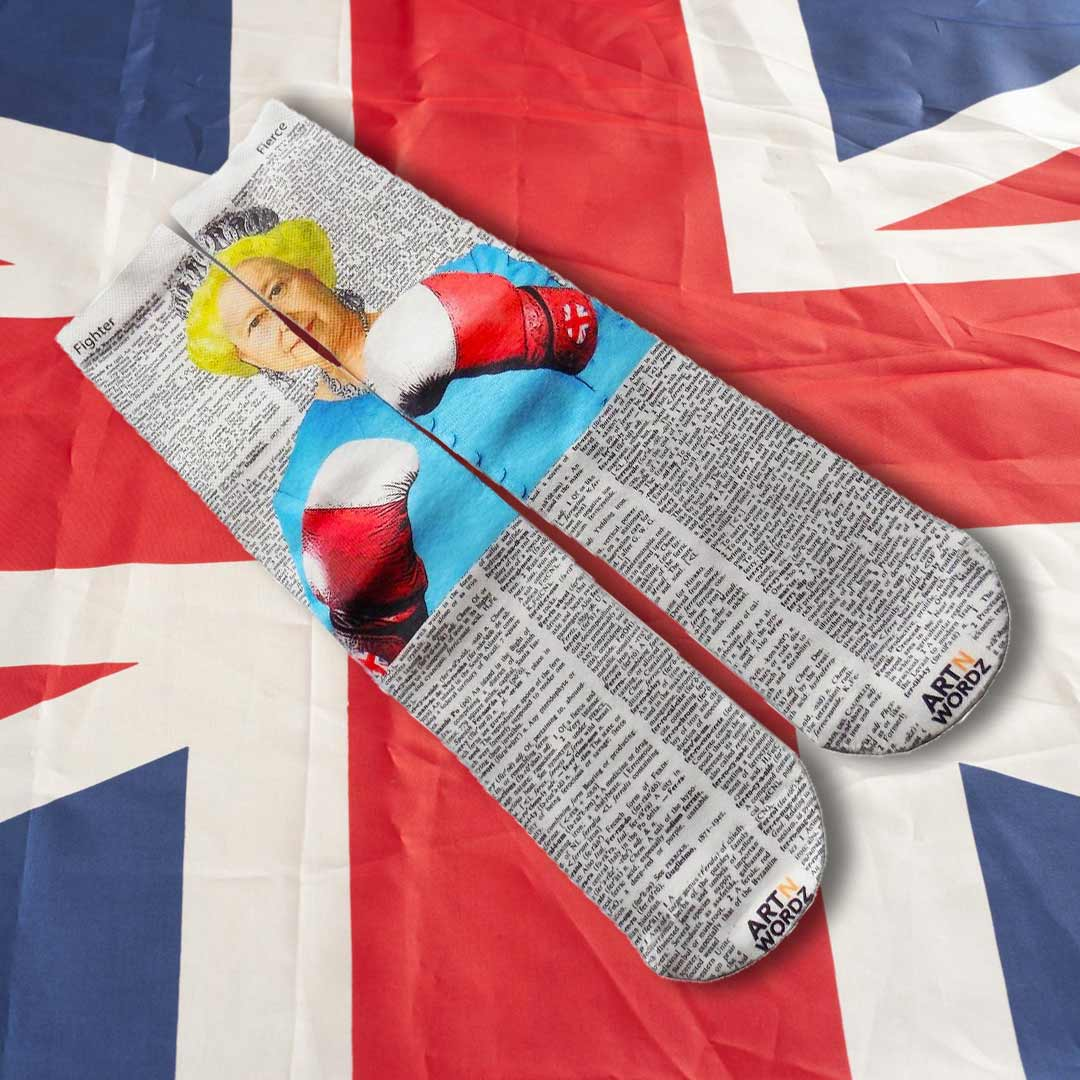 BRITISH POUND QUEEN BOXING socks by Art N Wordz  (Front) | the design gift shop