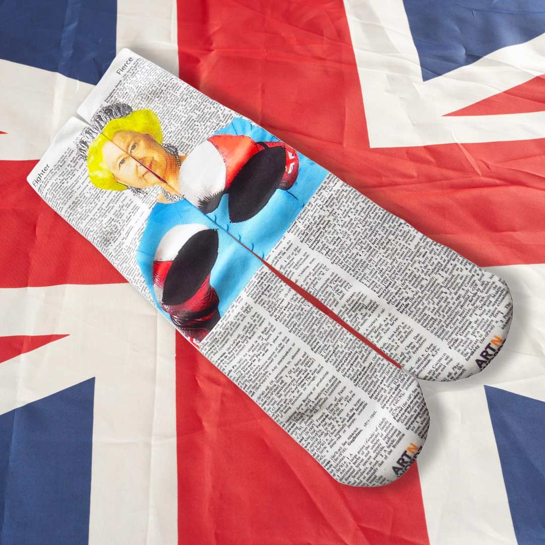 BRITISH POUND QUEEN BOXING socks by Art N Wordz  (Back) | The Design Gift Shop