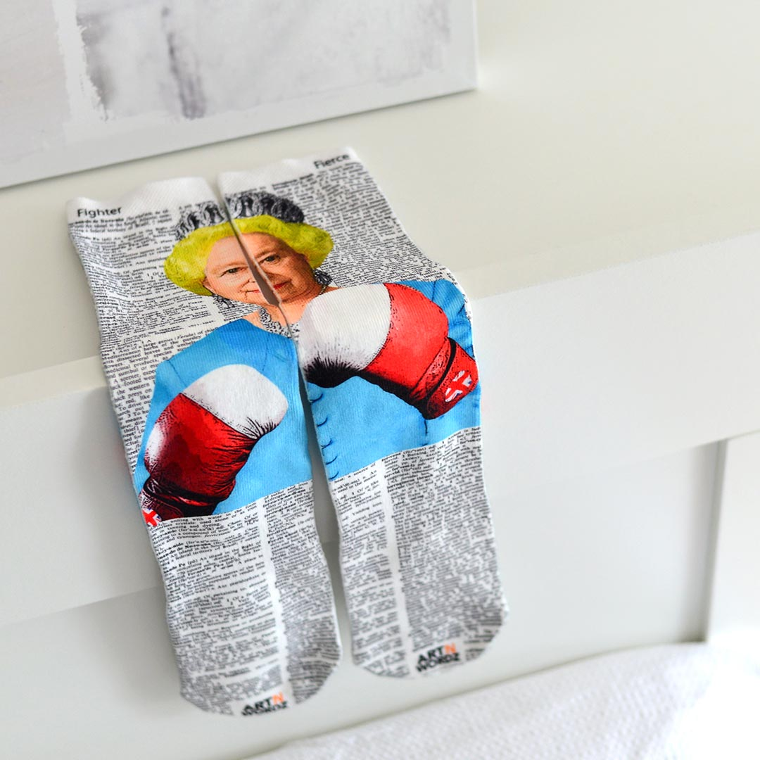 BRITISH POUND QUEEN BOXING socks by Art N Wordz | the design gift shop