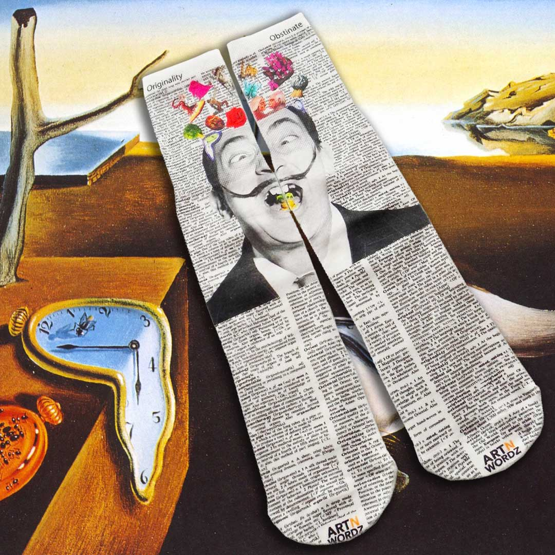 HELLO SALVADOR DALI socks by Art N Wordz  (Front) | the design gift shop