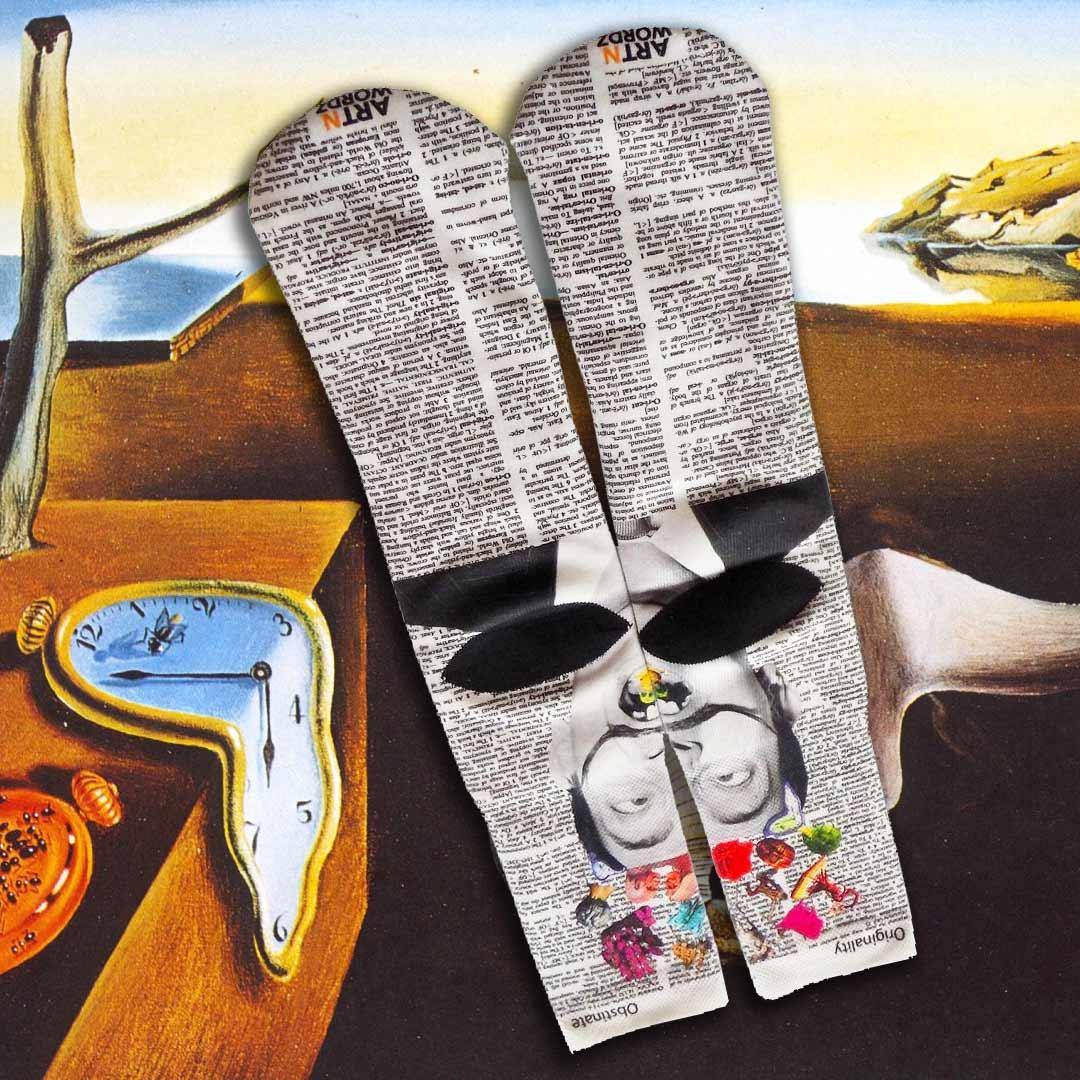 HELLO SALVADOR DALI socks by Art N Wordz  (Back) | the design gift shop