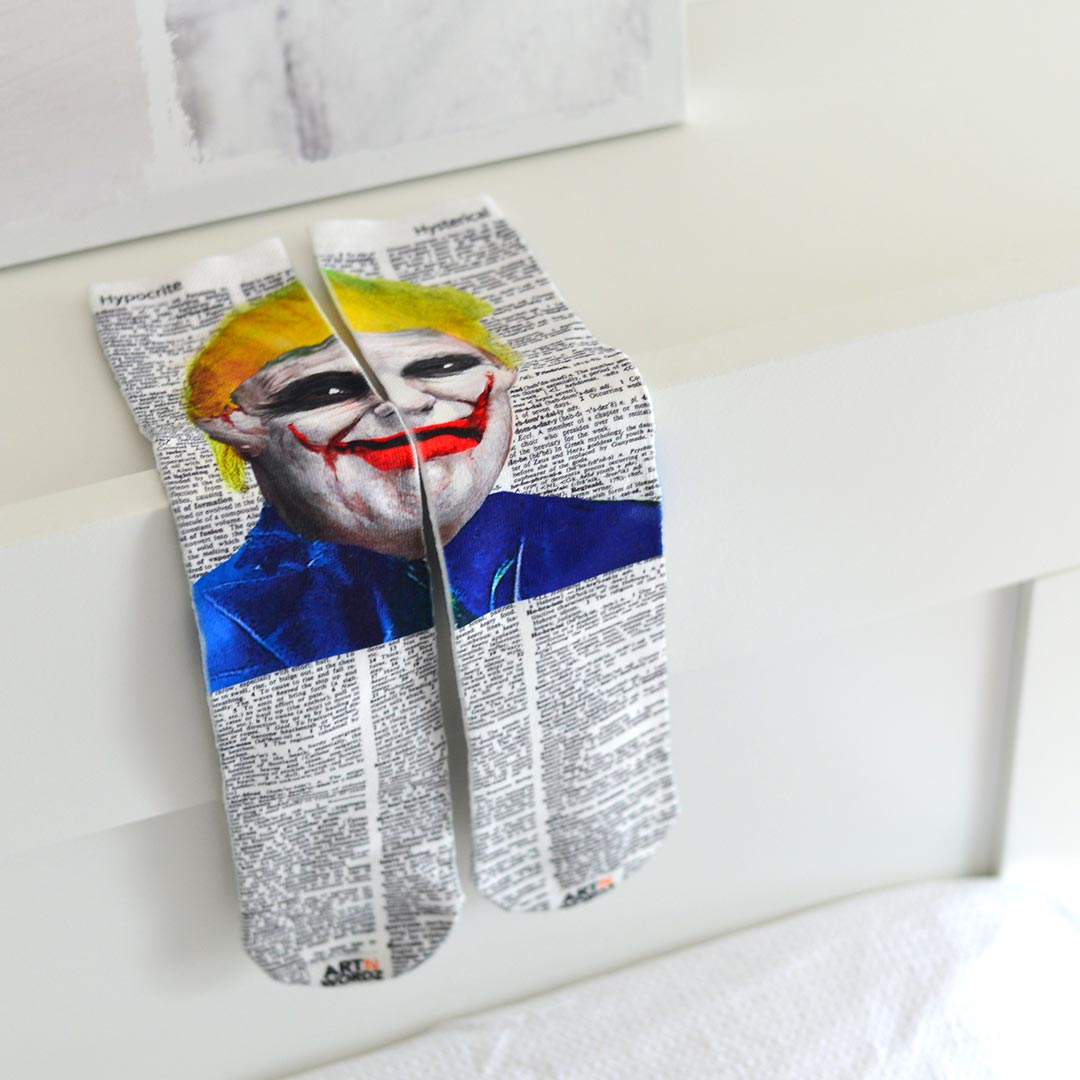 DONALD JOKER TRUMP socks by Art N Wordz | the design gift shop