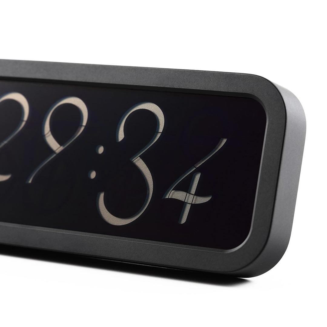 LEXON LR133N SCRIPT ALARM CLOCK - black | The Design Gift Shop