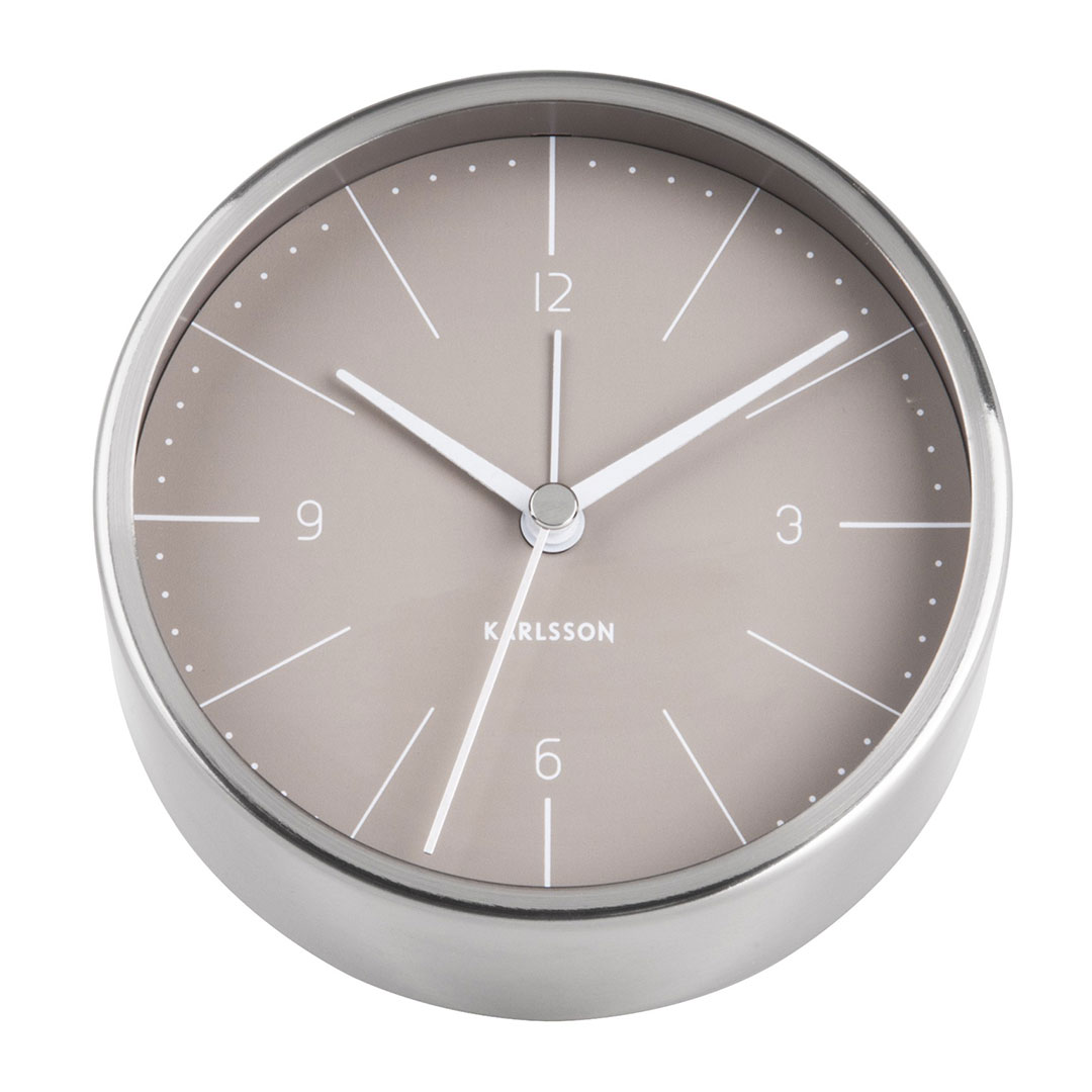 KARLSSON Normann alarm clock steel case warm grey dial   The Design Gift Shop