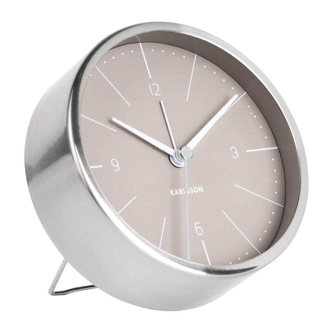 KARLSSON Normann alarm clock steel case warm grey dial | The Design Gift Shop