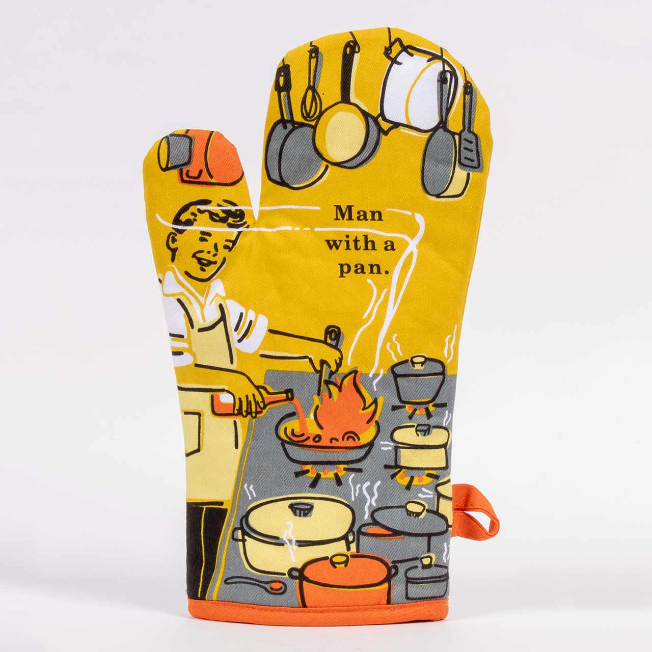 Man With A Pan (Front) - One Oven Mitt by Blue Q | The Design Gift Shop