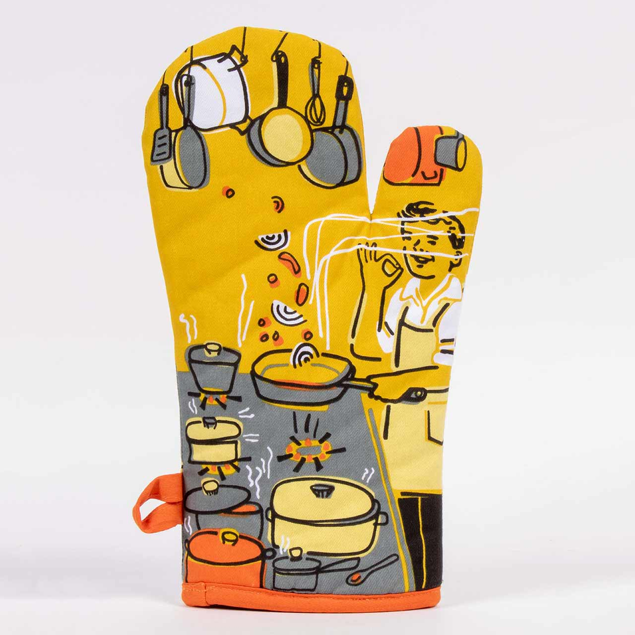 Man With A Pan (Back) - One Oven Mitt by Blue Q | The Design Gift Shop