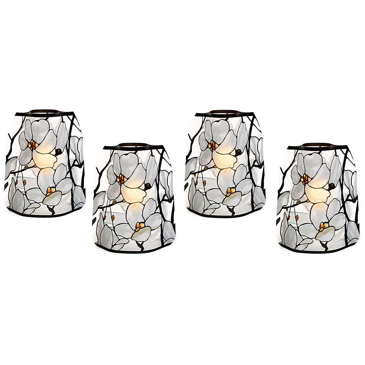 Modgy Tiffany Magnolia Window Luminary Lanterns (set of 4) | the design gift shop