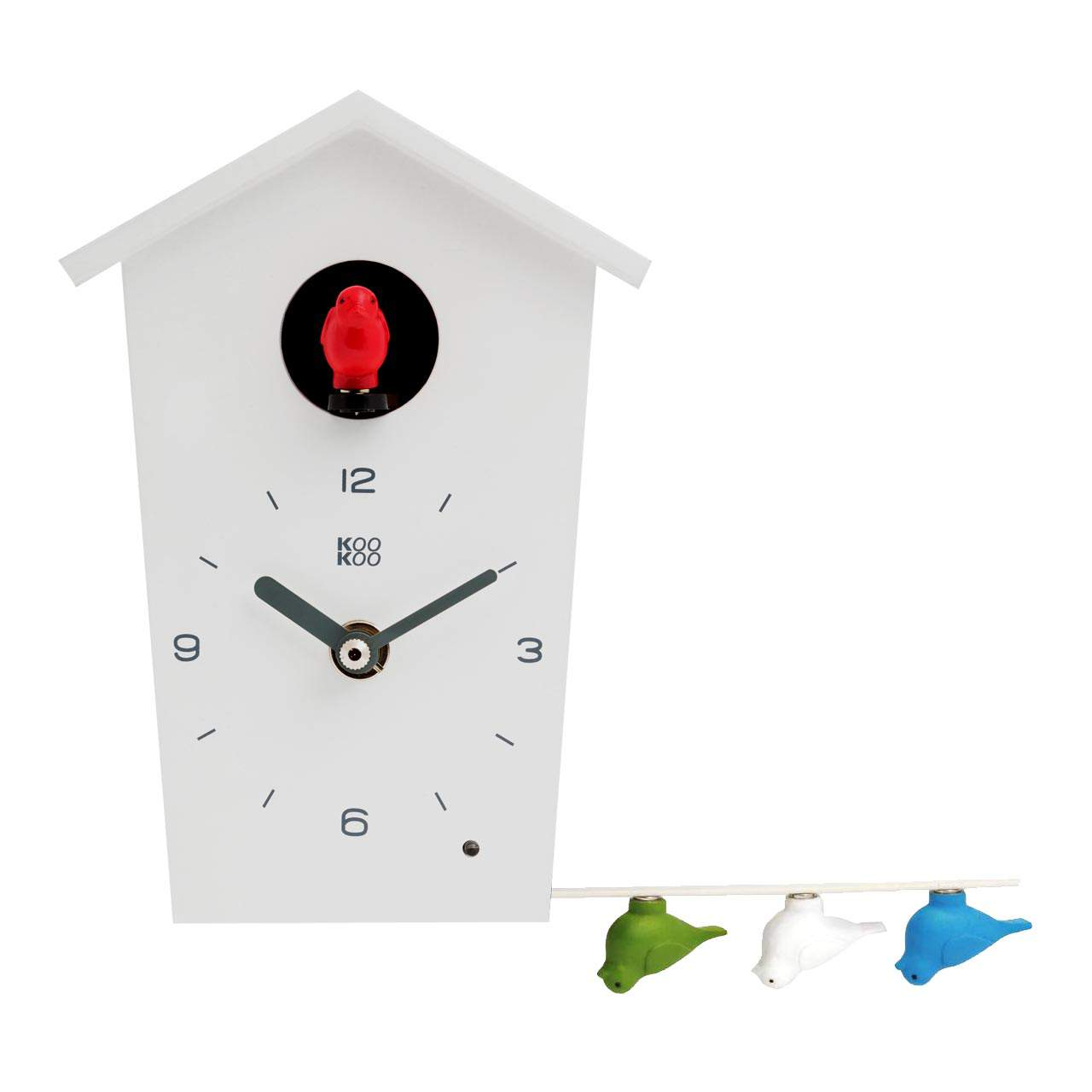 BirdHouse Mini cuckoo clock white with genuine bird voices | The Design Gift Shop