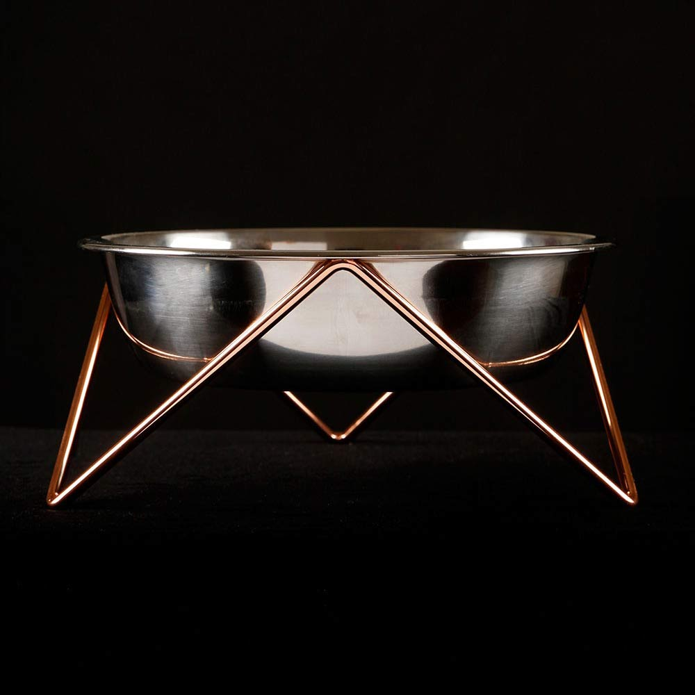 BENDO meow luxe dog bowl with copper stand | The Design Gift Shop