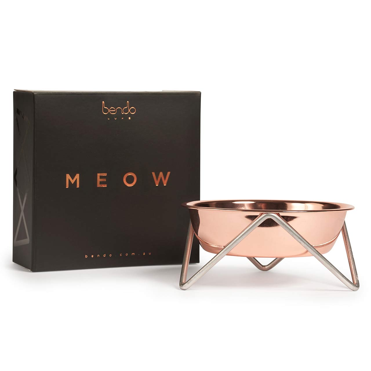 BENDO meow luxe dog bowl copper on chrome | The Design Gift Shop