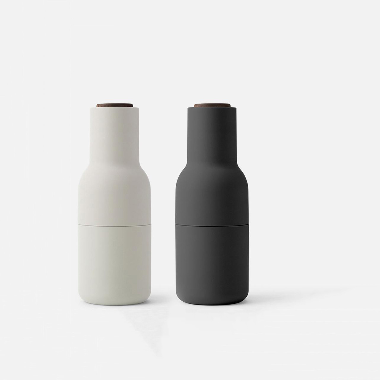Menu Norm salt & pepper bottle grinder set in carbon/ash/walnut | the design gift shop