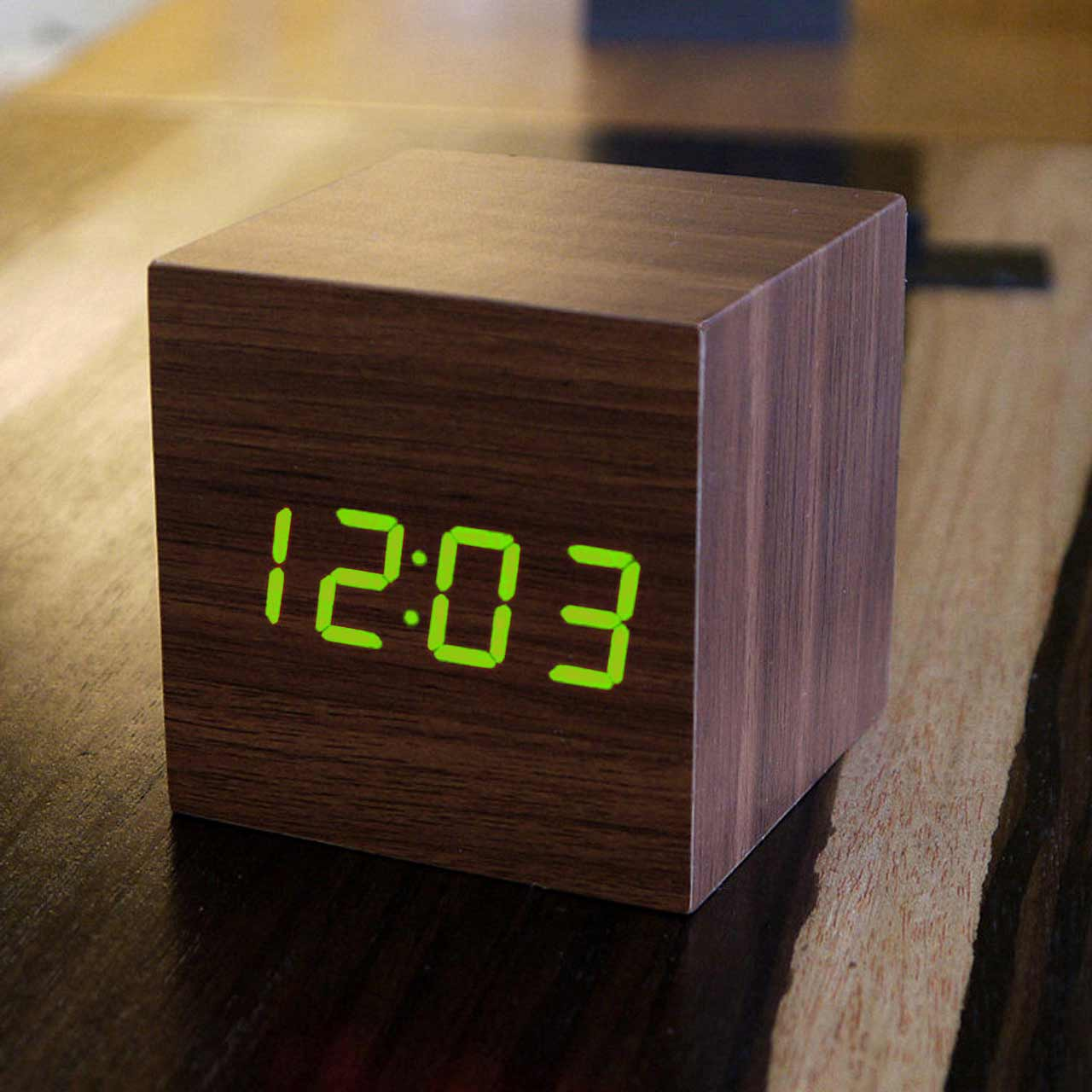 GINKGO cube click clock walnut / green LED | The Design Gift Shop