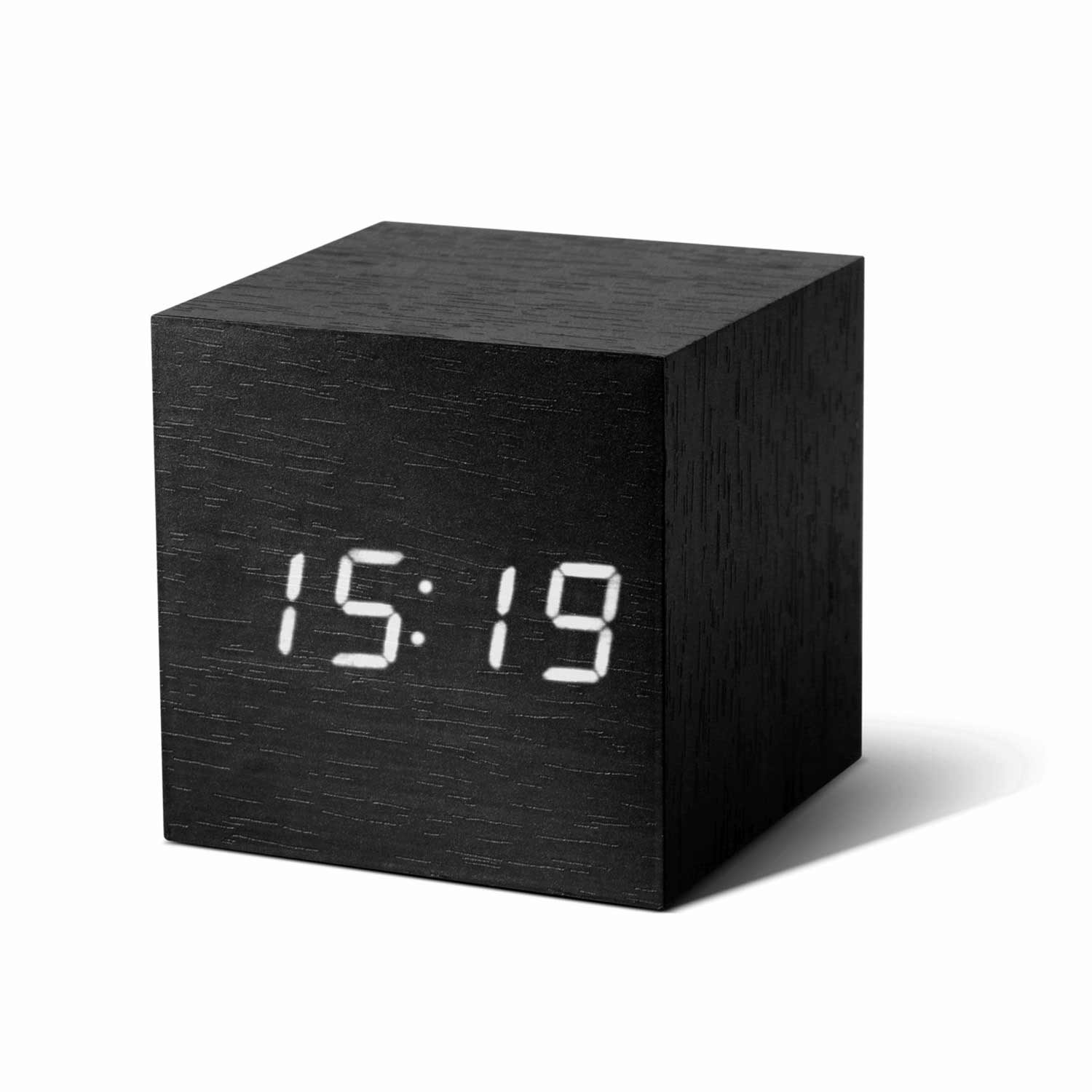 GINKGO cube click clock black / white LED | the design gift shop