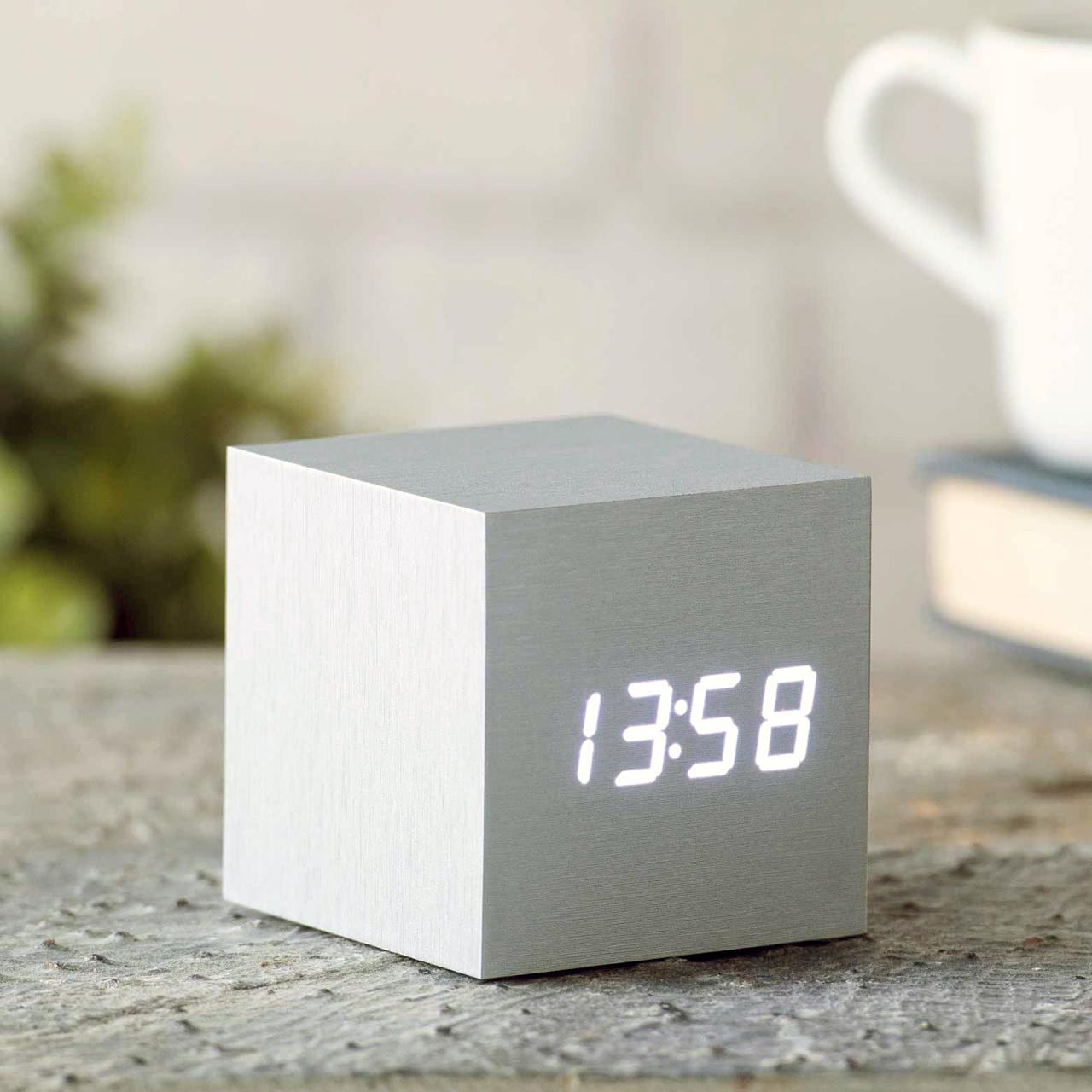GINGKO cube click clock white / white LED | the design gift shop