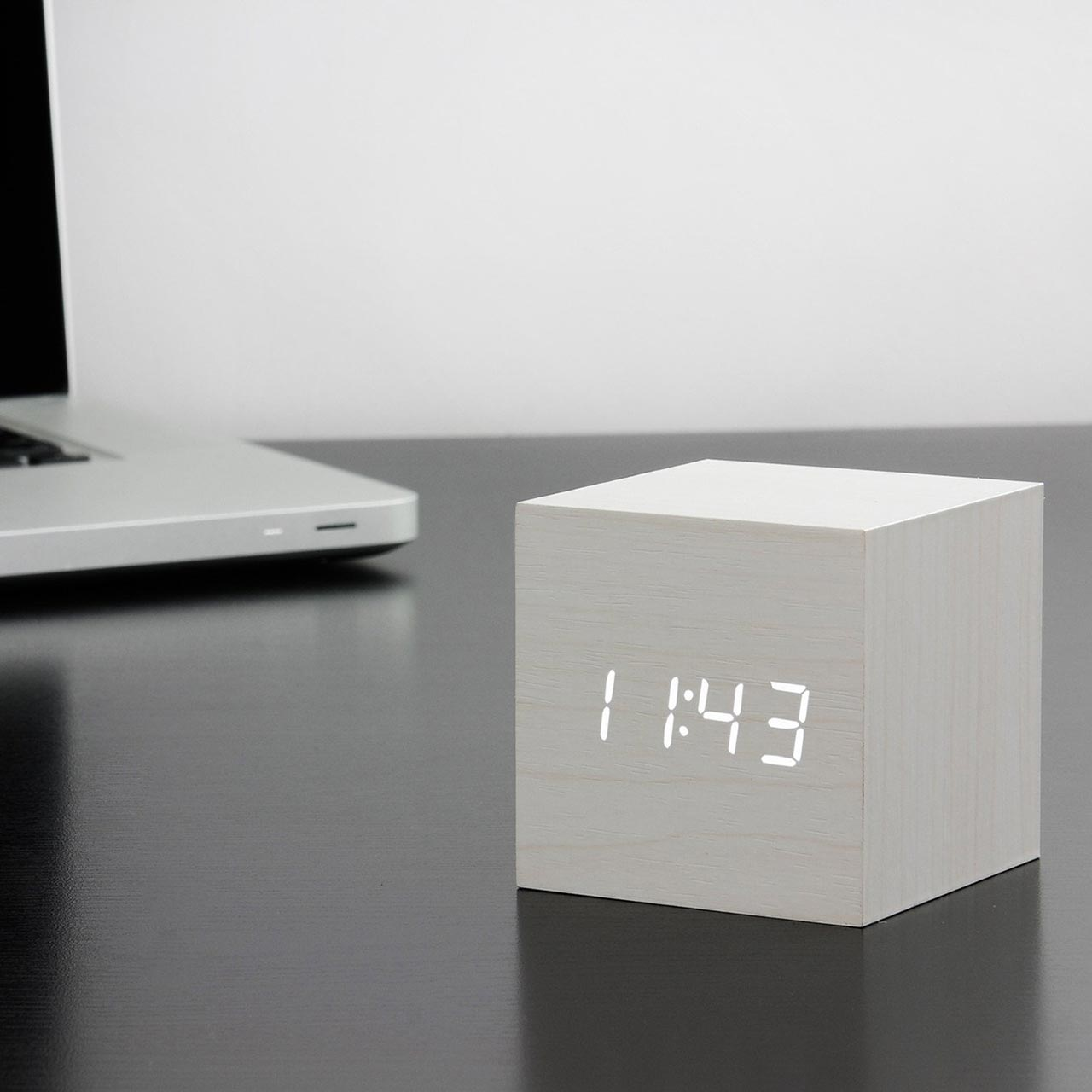 GINGKO cube click clock white / white LED | the design gift shop