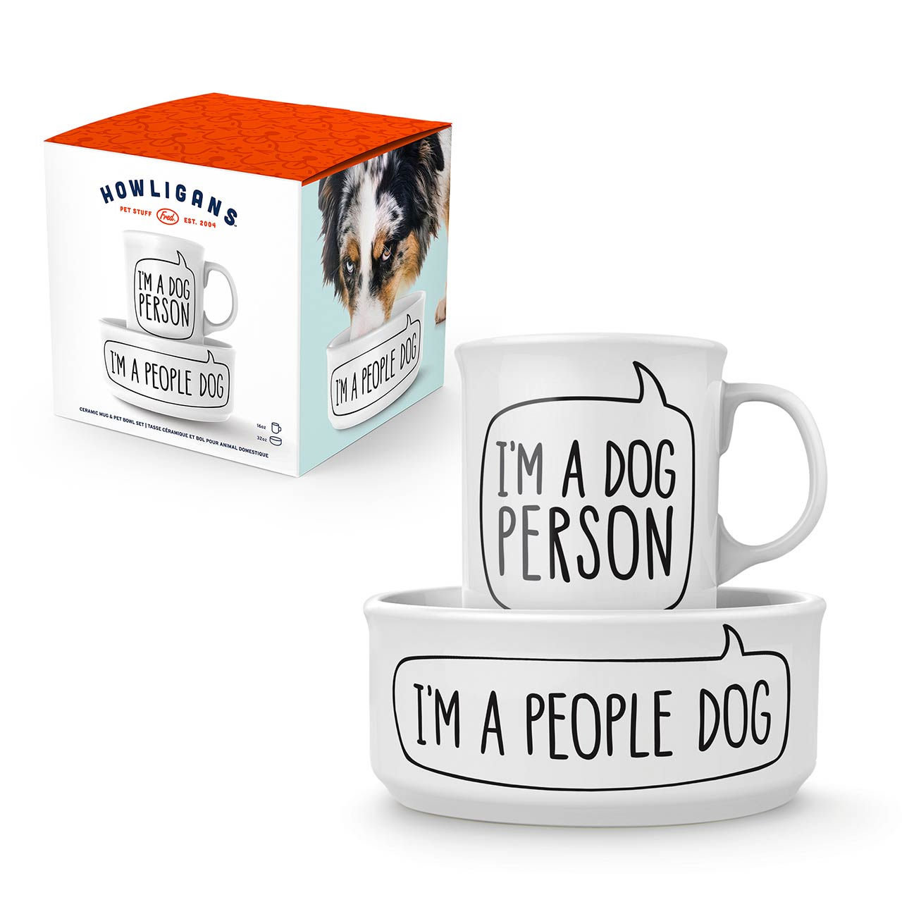 Fred Dog Person Bowl and Mug Set | The Design Gift Shop