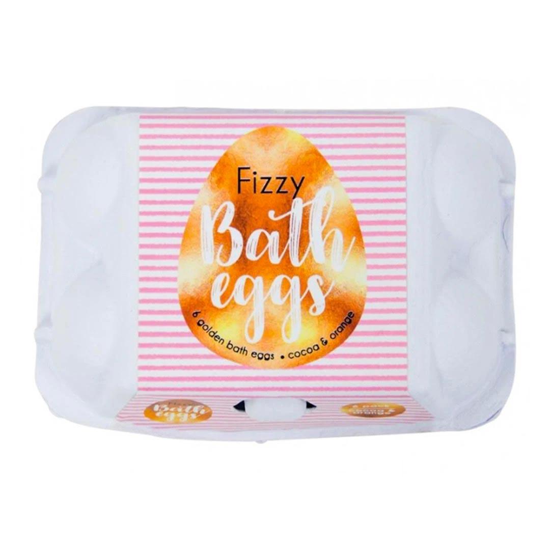 Golden Fizzy Bath Bomb Eggs Scent Cocoa & Orange | The Design Gift Shop