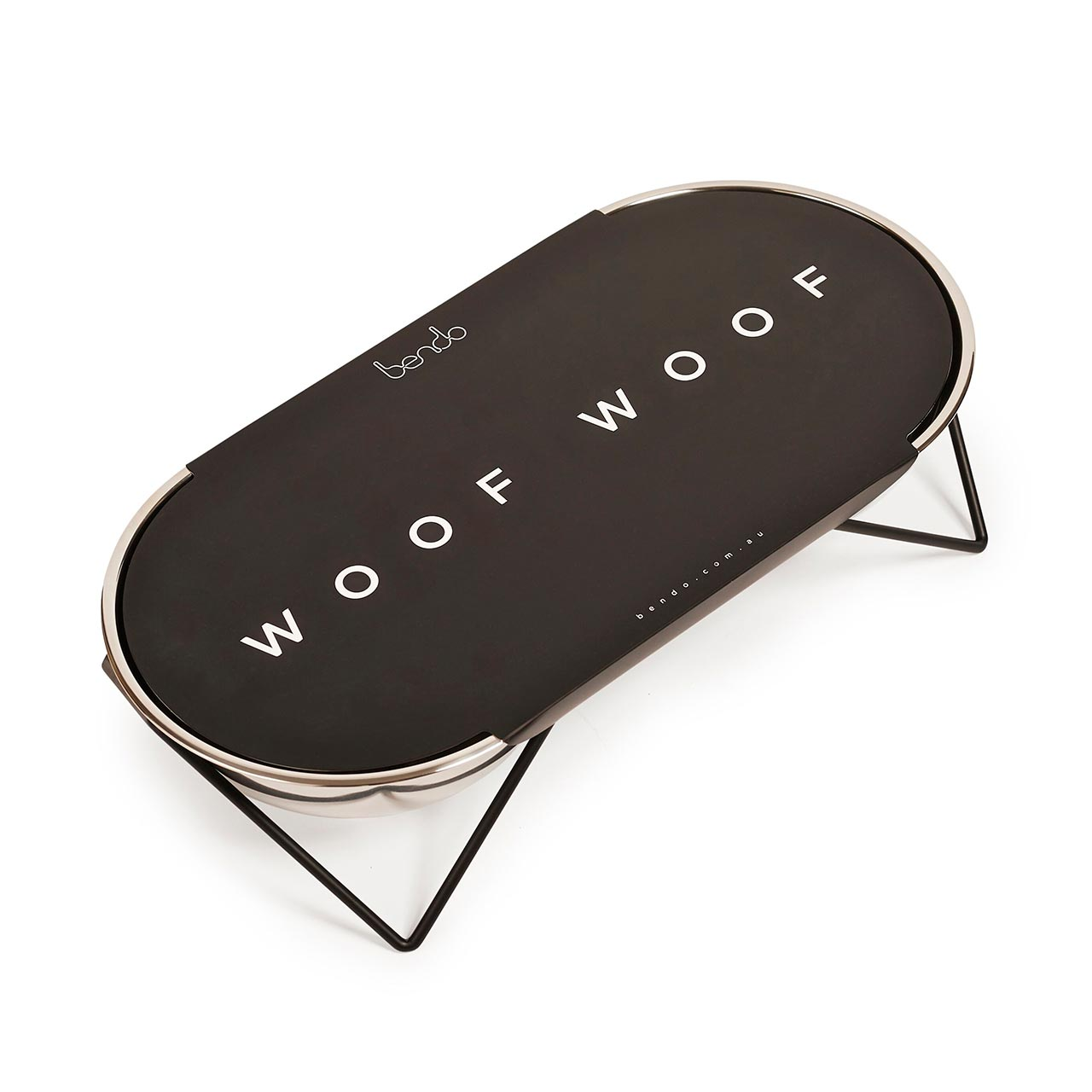 Bendo Luxe WOOF WOOF double dog bowl black stand | The Design Gift Shop