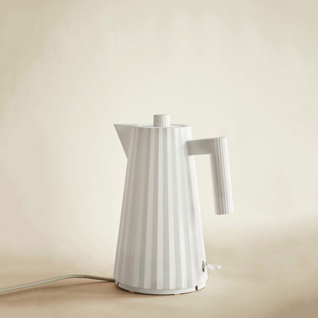 ALESSI Electric Water Kettle Plissé White   The Design Gift Shop