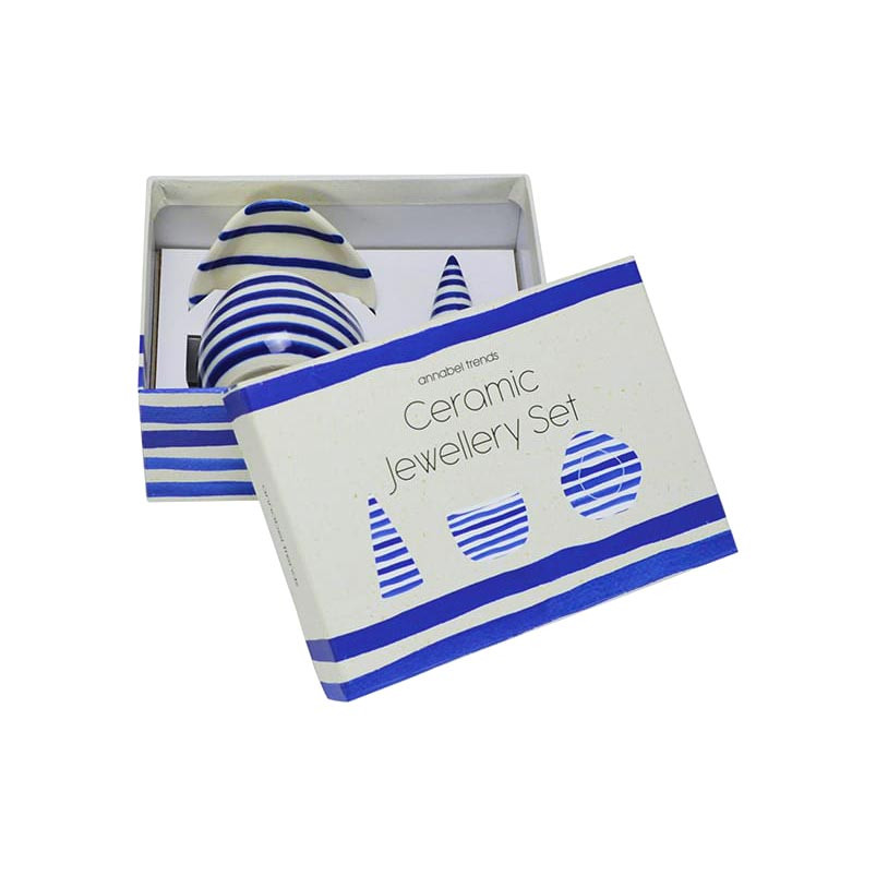 ANNABEL TRENDS Blue Greek Style Ceramic Jewellery Set | the design gift shop